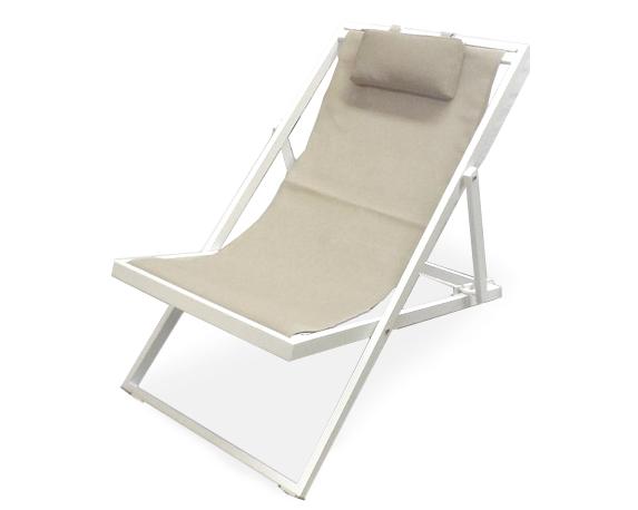 Sdraio New Relax Alluminio Bianco/ Khaki