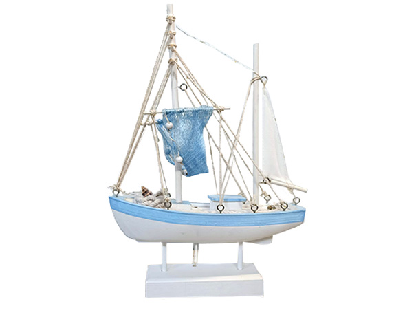 Barca A Vela C/led 28cm Legno