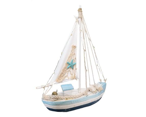 Barca A Vela C/led 29cm Legno