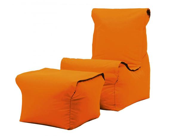 Poltrona Relax + Pouf + Cuscino Set3 Arancio