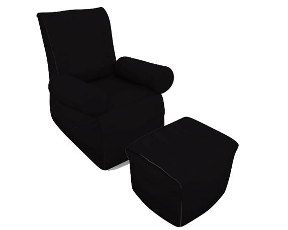 Poltrona Relax Plus + Pouf + Cuscino Set3 Nero