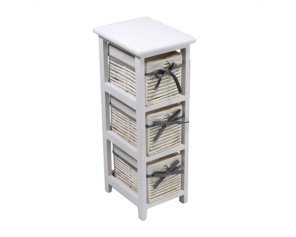 cassettiera 3 cassetti Hilary legno e rattan bianca mobili casa e decor arredo vacchetti 1