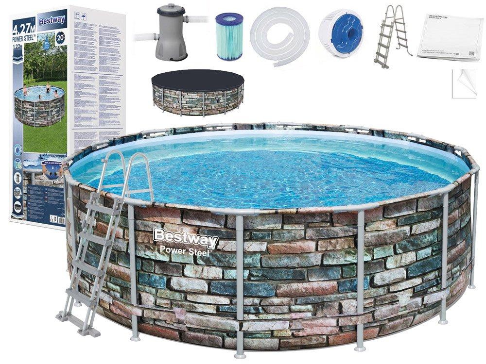 eng pl Bestway Frame pool 427x122cm stone 11in1 56993 14885 6 1