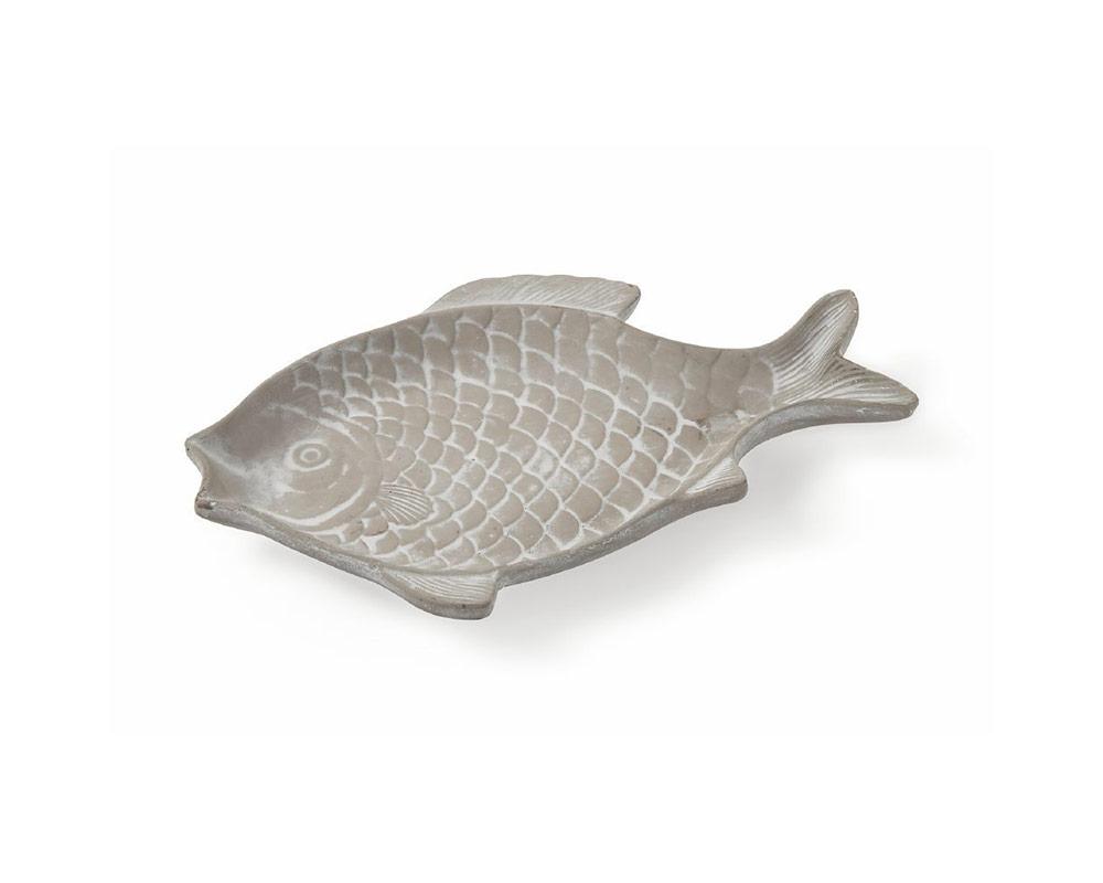 piatto pesci 31 cm decorativa in terracotta c rilievi decorazioni grigio villa deste galileo 1