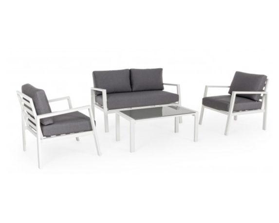 Set 4 Salotto Koral C-c Bianco/grigio Scuro Alluminio