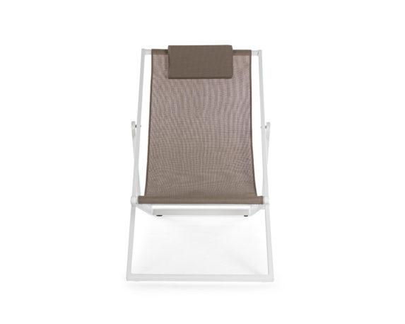 sdraio taylor bianco marrone testilene alluminio complementi relax arredo giaridno bizzotto 1 1
