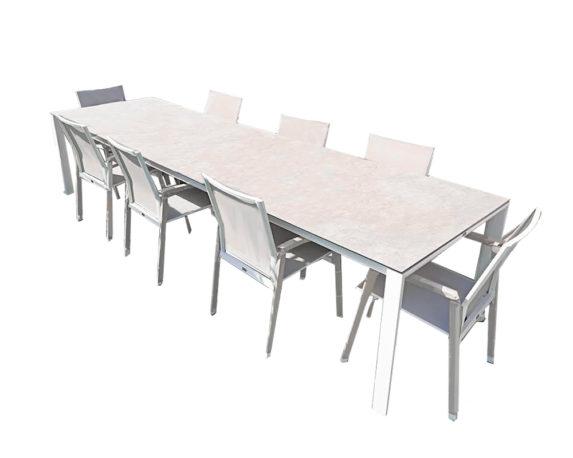 Set Tavolo Magic + 8 Sedie C/br Grigio Alluminio