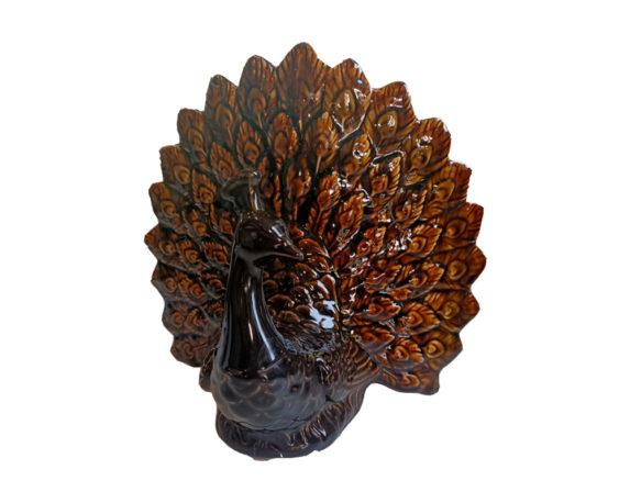 Pavone C-coda A Ventaglio Ambra Ceramica