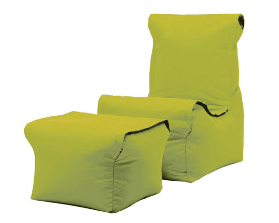 Poltrona Relax + Pouf + Cuscino Set3 Verde