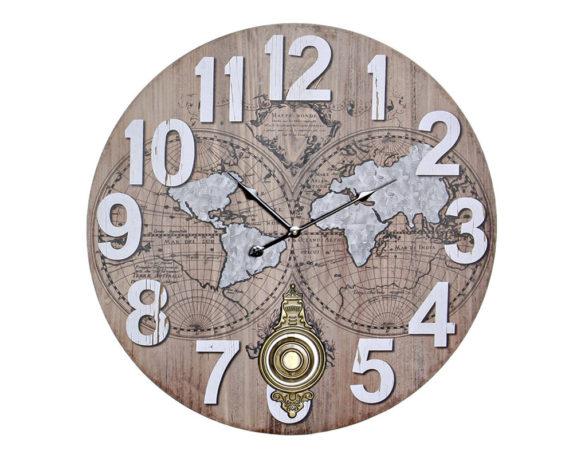 Orologio Parete Mappamondo Pendolo Legno