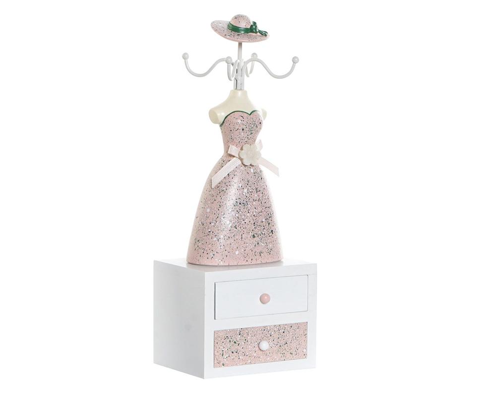 PORTA GIOIELLI MDF RESINA 11X8X31 item international DH 175837 rosa
