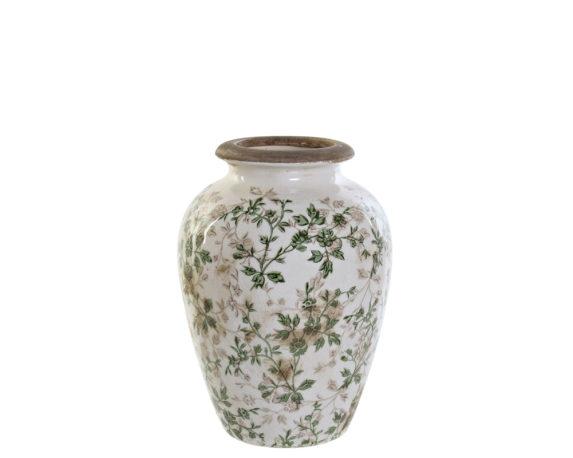 Vaso Small Antichizzato Ceramica Bianco