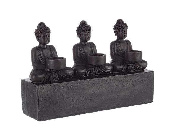 Decorazione Porta Tealight 3p Buddha Seduto