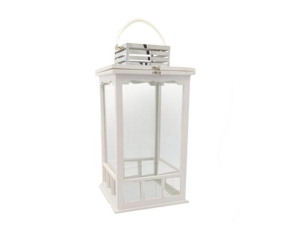 Lanterna Bianca Legno/metallo
