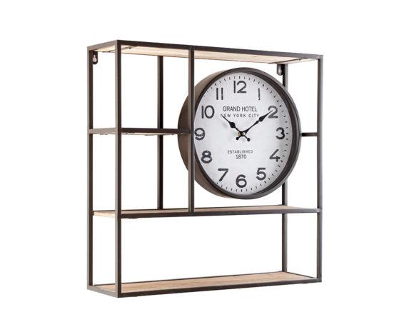 Mensola 3p C-orologio Ticking Acciaio Legno