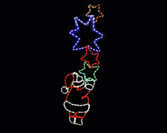Babbo Natale C/stelle Tubo Led Multicolor