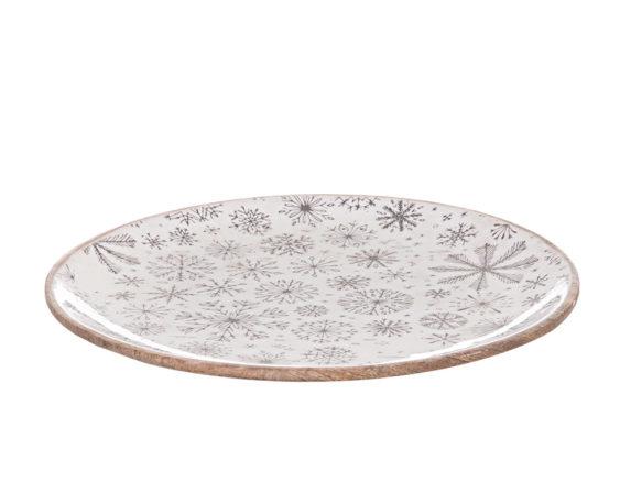 Piatto Piano Decor Snowfall To Bianco
