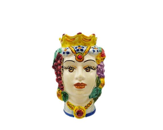 Testa Di Moro Donna Bianco Small Decorata Multicolor