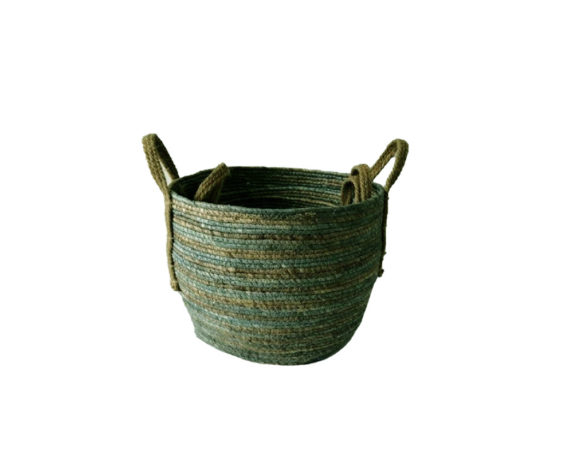 Cestino Fiber Small Verde/marrone Fibra Naturale