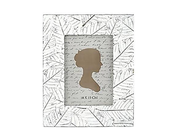 Cornice Trama Foglie 17×22 Crema/grigio