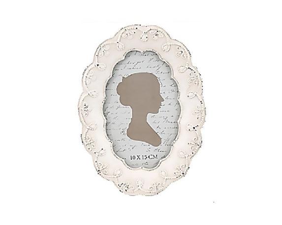 Cornice Ovale Pizzo 15×20 Bianco