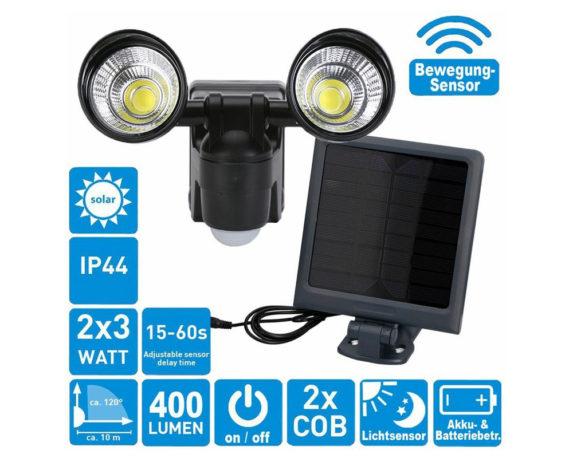Lampada Ricarica Solare Di Sicurezza Doppia C/sensore A Infrarossi