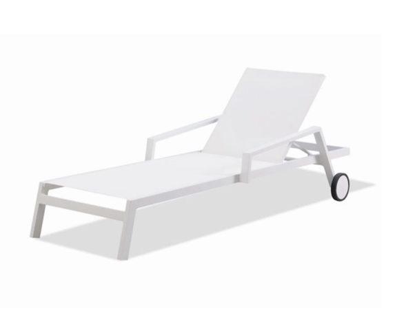 Lettino Mikonos Regolabile C-ruote Bianco Alluminio