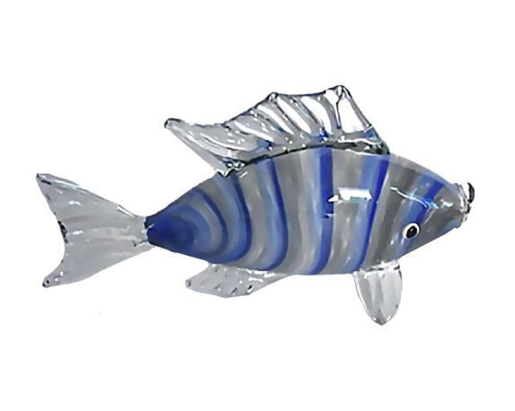 Figura Pesce 31x8x17 Blu Vetro