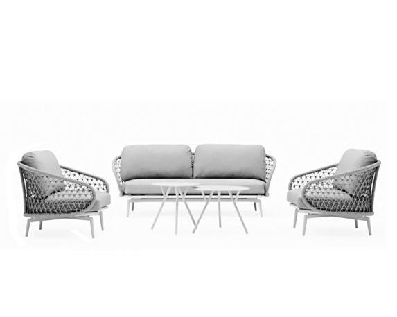 Set 5 Salotto Cuddle C-c Bianco Alluminio/kordy