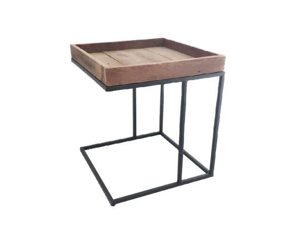 Tavolino Angolare Quadrato Legno/metallo