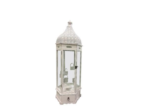 Lanterna Esagonale C/cassetto Small Legno/metallo