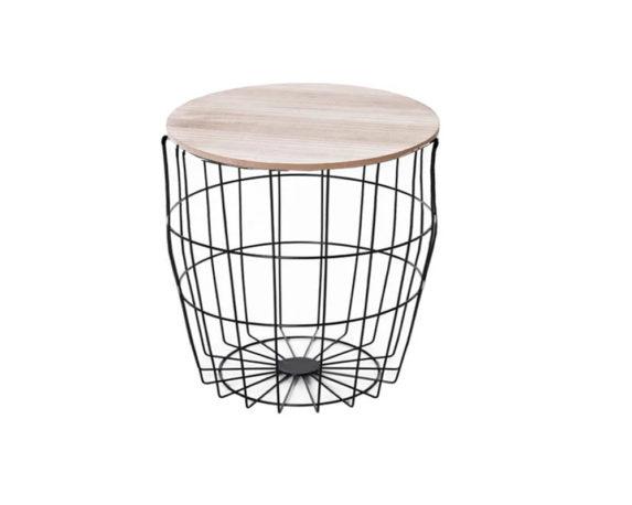Tavolino Gabbia Bombato Rotondo Medium Legno/metallo