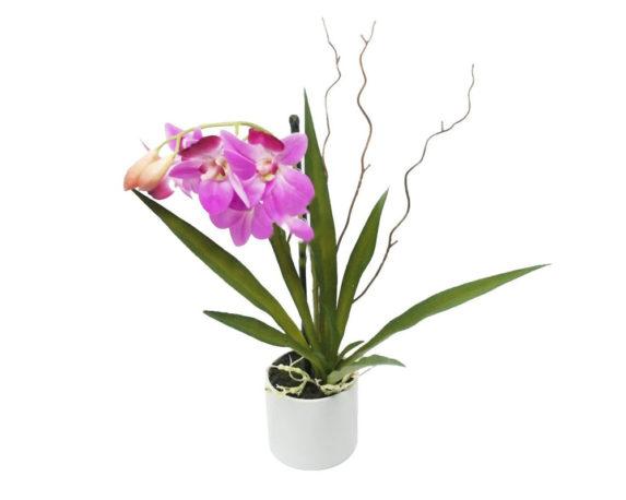 Orchidea Artificiale Rosa Beauty In Vaso H35