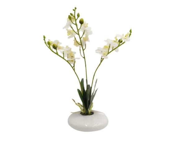 Orchidea Phalaenopsis Artificiale Bianco In Vaso H30