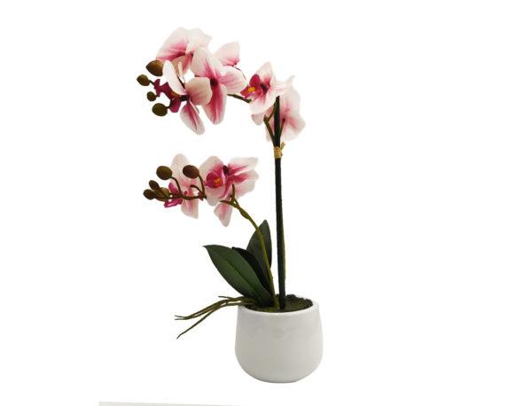 Orchidea Phalaenopsis Artificiale Rosa In Vaso H35