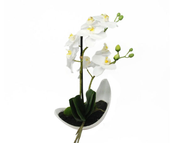 Orchidea Phalaenopsis Artificiale Bianco In Vaso H33