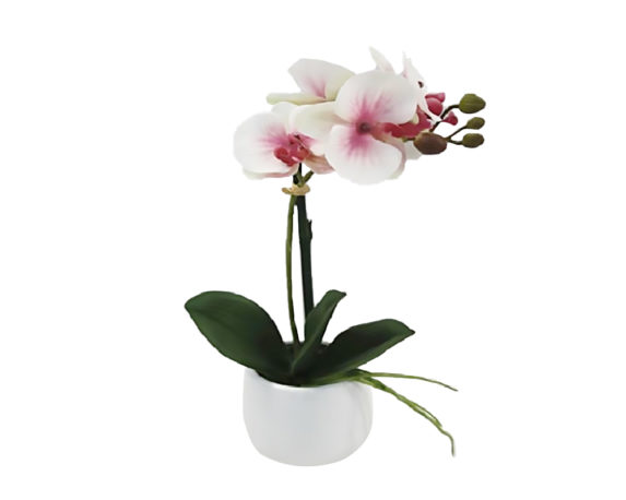 Orchidea Phalaenopsis Artificiale Rosa In Vaso H45
