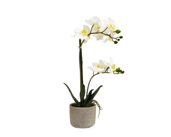 Orchidea Phalaenopsis Artificiale Bianco In Vaso Grigio H44